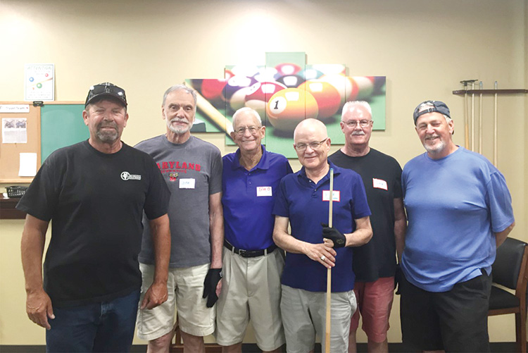 """Left to right: first place Bob Fagotti and Jim """"Aviator"""" Wydick, third place Bob """"O"""" Ogle and Dick """"The Stick"""" Schroeder, second place Dale Trudo and Jay """"The Shamrock Shooter"""" Clary"""