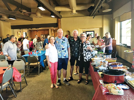 Hosts Maria and Mike Miller and Activity Coordinators Fred and Bonnie Barazani were a match made in heaven planning the Preserve potluck. And, popping out of nowhere was Cathy Quesnell, our local farcical photo-bomber, flashing her extra-large smile.