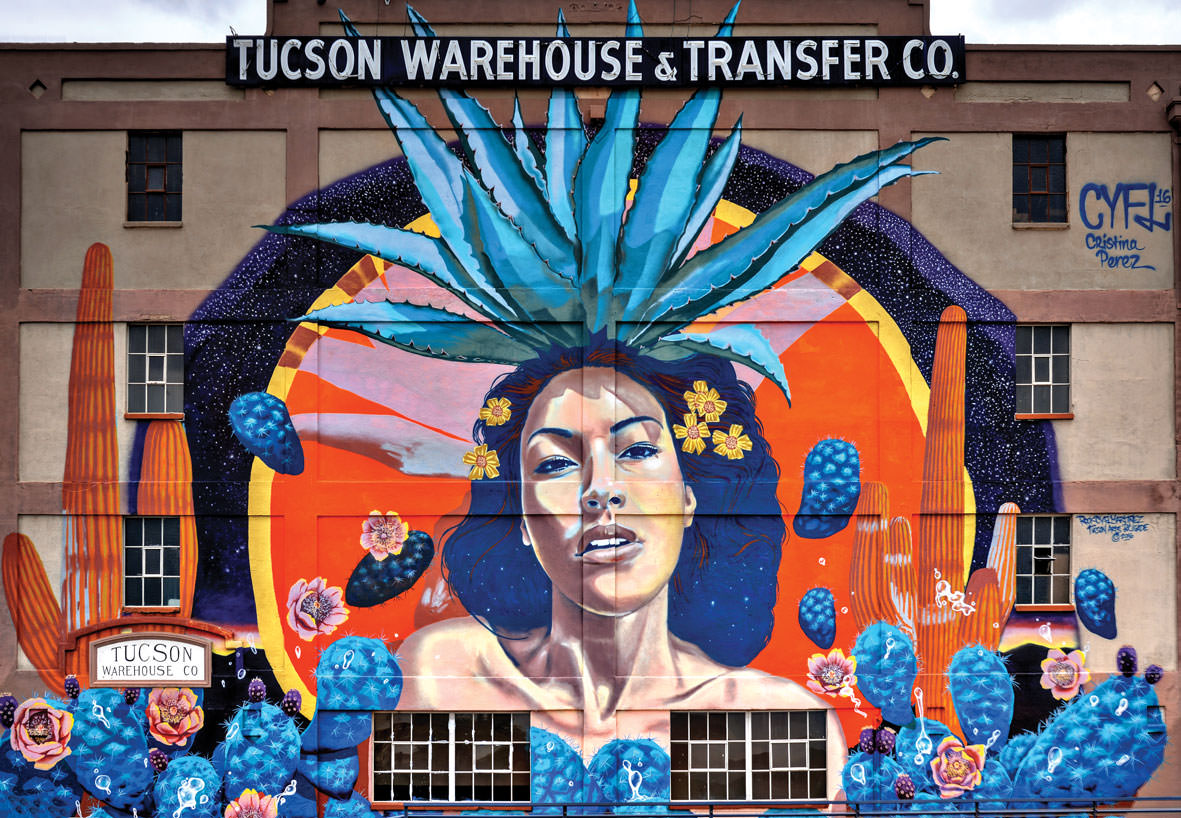 """The """"Goddess of Agave"""" mural, located at 440 North 7th Avenue in Tucson, was created by six different artists. Painted on a warehouse wall, the mural's total size is 2000 square feet!"""
