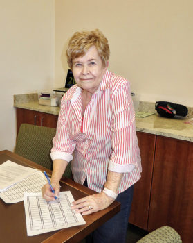 JoAnn Aiken has managed and directed at the MountainView Bridge Club for many years. Photo by Sue Bush.