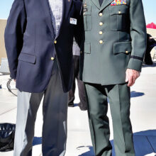 Col. Bill Nagy, President of the Catalina Mountains Satellite Chapter (CMSC) Tucson Military Officer of Association of America (MOAA) stands to the left of Lt. Col. Jeffery F. Foster M. Ed who gave the invocation.