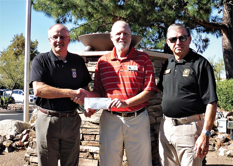 Left to right: Don Spiece, President of Tucson-Goyette Chapter of AUSA; Bill Doran, CCSB Missions; and Paul Belanger, Member of the Executive Committee.