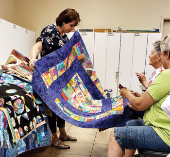 The Quiltmama, Jessica Dickinson, captivated the Friday Quilters with a riot of color. Photo by Varda Main.