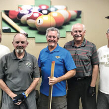 Left to right: Henry Krebs, 4th place; Phelps L'Hommedieu, 1st place; Dominic Borland, 5th place; Lowell Hegg, 2nd place; and Steve Searl, 3rd place.