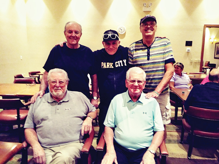 Seated (left to right): 1st place, Jack Porteous and 2nd place, Ivan Haag. Standing: 4th place (tie), Wayne Larroque, Bud Arnold, and Chuck Kochiss. Not pictured: 3rd place, Angie Stein.