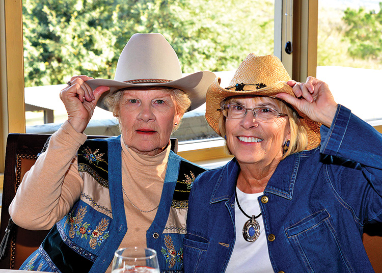 Guests Hazel Roper and Sandy Strack at the cook out.