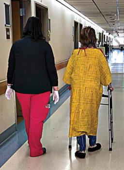 Connie Ward in hospital; photo by Jim Ward