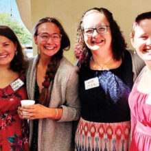 Emma, Haley, Katie, and Laura at MSPC sharing their experiences with congregants.