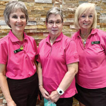 First Flight (left to right): Pam Brown (2nd), Kay Tomaszek (3rd), and Eileen Snearly (1st)