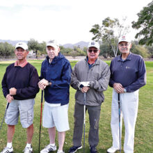 Participating in the event were (left to right): Col. Bill Nagy, President of the Catalina Mountains Satellite Chapter (CMSC) Tucson and of the Military Officers Association of America (MOAA); Col. Rett Benedict, past President of CMSC; Major Frank Shipton, a MOAA member; and Col. Gary Pettett, Treasurer of the Tucson Chapter of MOAA.