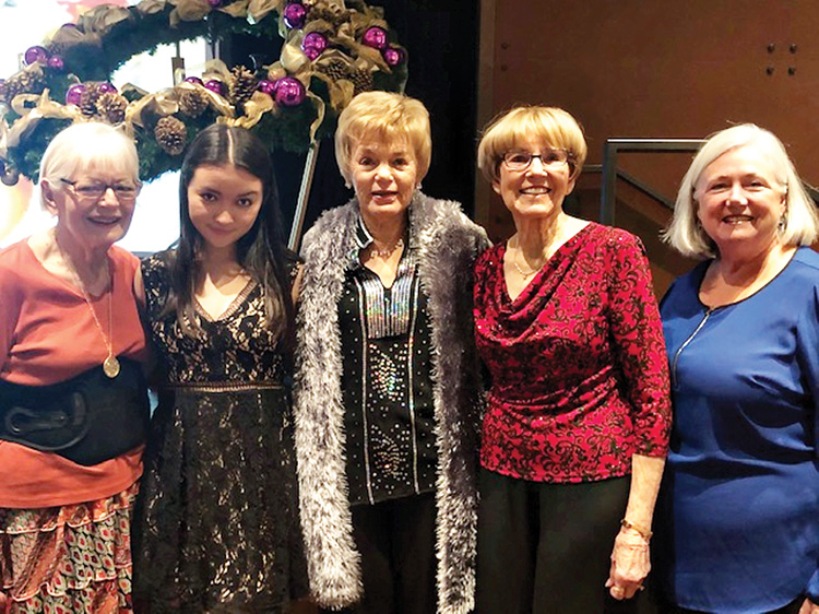 At the Advent Luncheon on Dec. 6. Left to right are: Mary Baglien, Aliyah Douglas, Vicki Graham, Bev Frazee, and Susan Barnes. Photo taken by Carol Kiker.