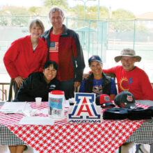 Seated: Cindy Madsen, Jane Zielske, and TJ Duffy; Standing: Tina Huber and Gary Rowell.