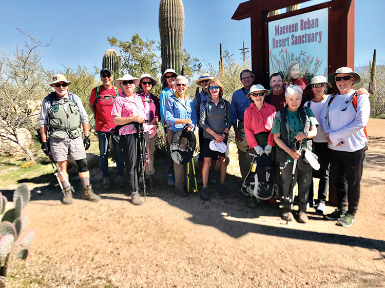 SaddleBrooke hikers pose at Maeveen Behan Desert Sanctuary. Photo by Elisabeth Wheeler.