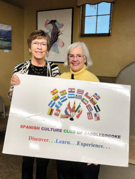 President Kay Sullivan with Sharon Cotter, who discussed Minga Peru.
