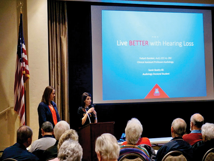 Dr. Fadyeh Barakat and Sarah Beatty during the Hearing Night Out Presentation on Feb. 4, 2020.
