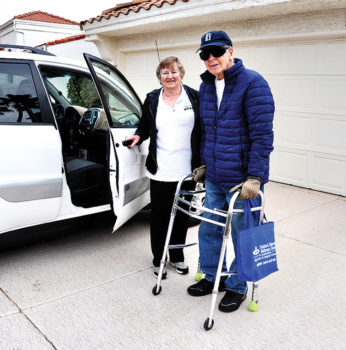 Senior Village member John Schmidt appreciates helpful volunteer drivers, like Jan Maresca, for transportation to medical appointments.