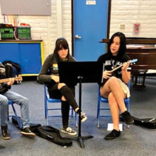 Coronado K-8 band students use ukuleles and music stands provided by an SBCO educational grant.
