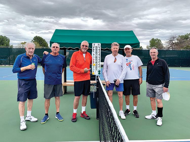 (Left to right) David Berg, Jim Abramson, Walter Fritz, Gary Simpson, Gary Rowell, and Bill Monroe