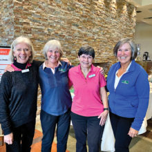 First place (left to right): Sandi Dickman, Marilyn Findley (QC), Raye Cobb, and Susan Struthers (QC)