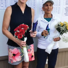 Our 2020 Club Champion, Helen Graham (left), and the Senior Club Champion Carol Bidwell