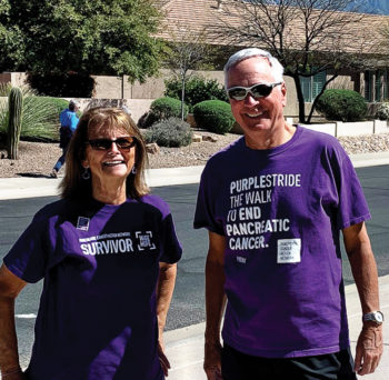 Betty and Rick Cole on their PurpleStride walk in SaddleBrooke.