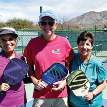 SPA members at the Ridgeview pickleball courts are Sandy Lindquist with 3.0 assisted play co-chairs Rich Reiner and Debbie Westwater