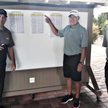 John Morales (center) SMGA Club Championship flight 3 winner with Troy Jewkes, head golf pro (left) and Mike Roddy, superintendent of golf and grounds (right)