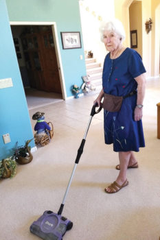 Household chores seem easier for Jeanette Wollinka when she is listening to an engaging audio book. Senior Village provides free audio book players, on loan, with instruction and set-up for members.