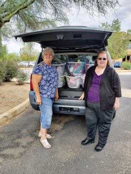 Beth Bradford delivers baby baskets to Davis-Monthan Air Force Base families.