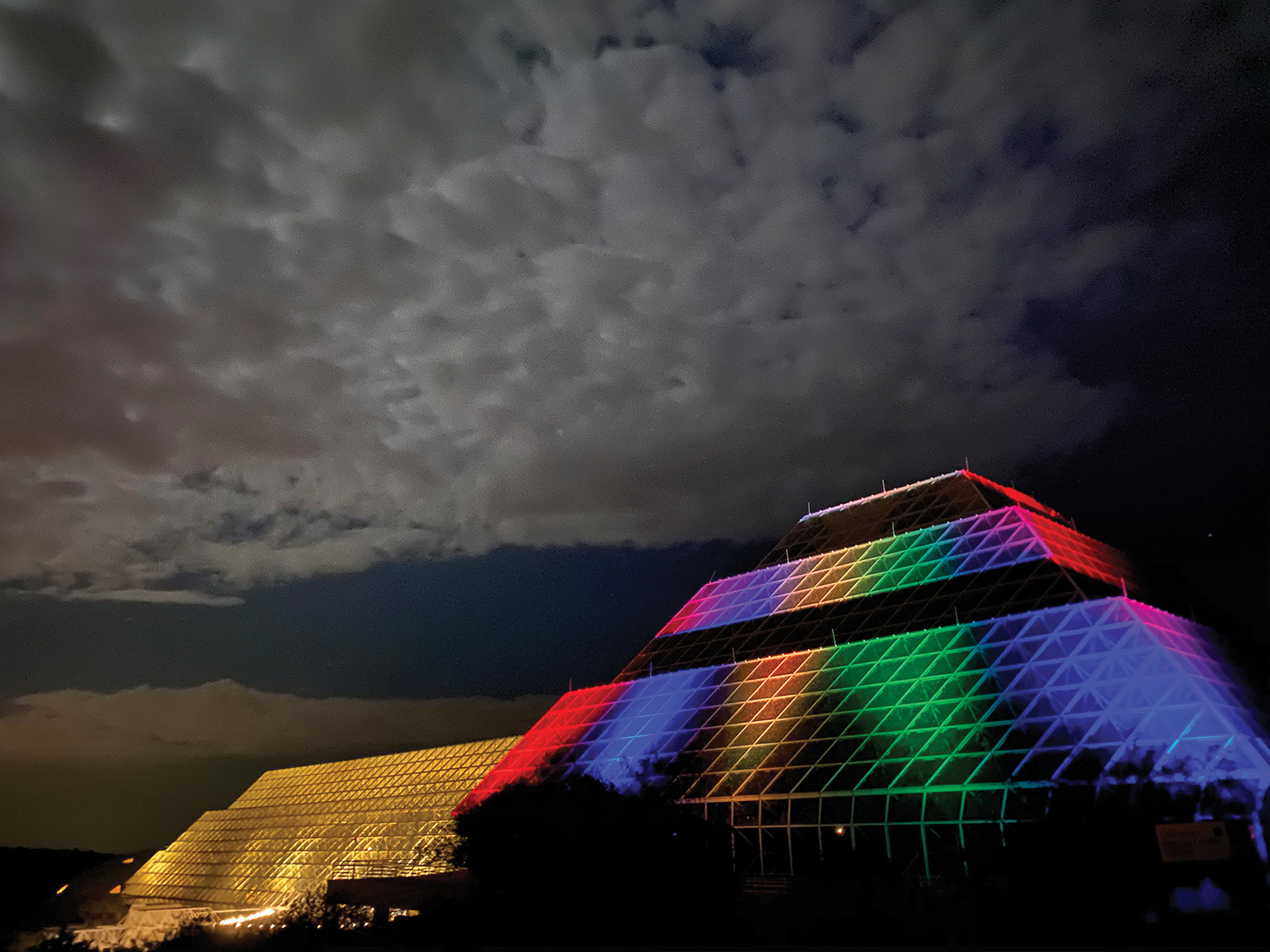 Biosphere 2 will be lit up at night during self-guided driving tours. (Photo by Taylor Adams)