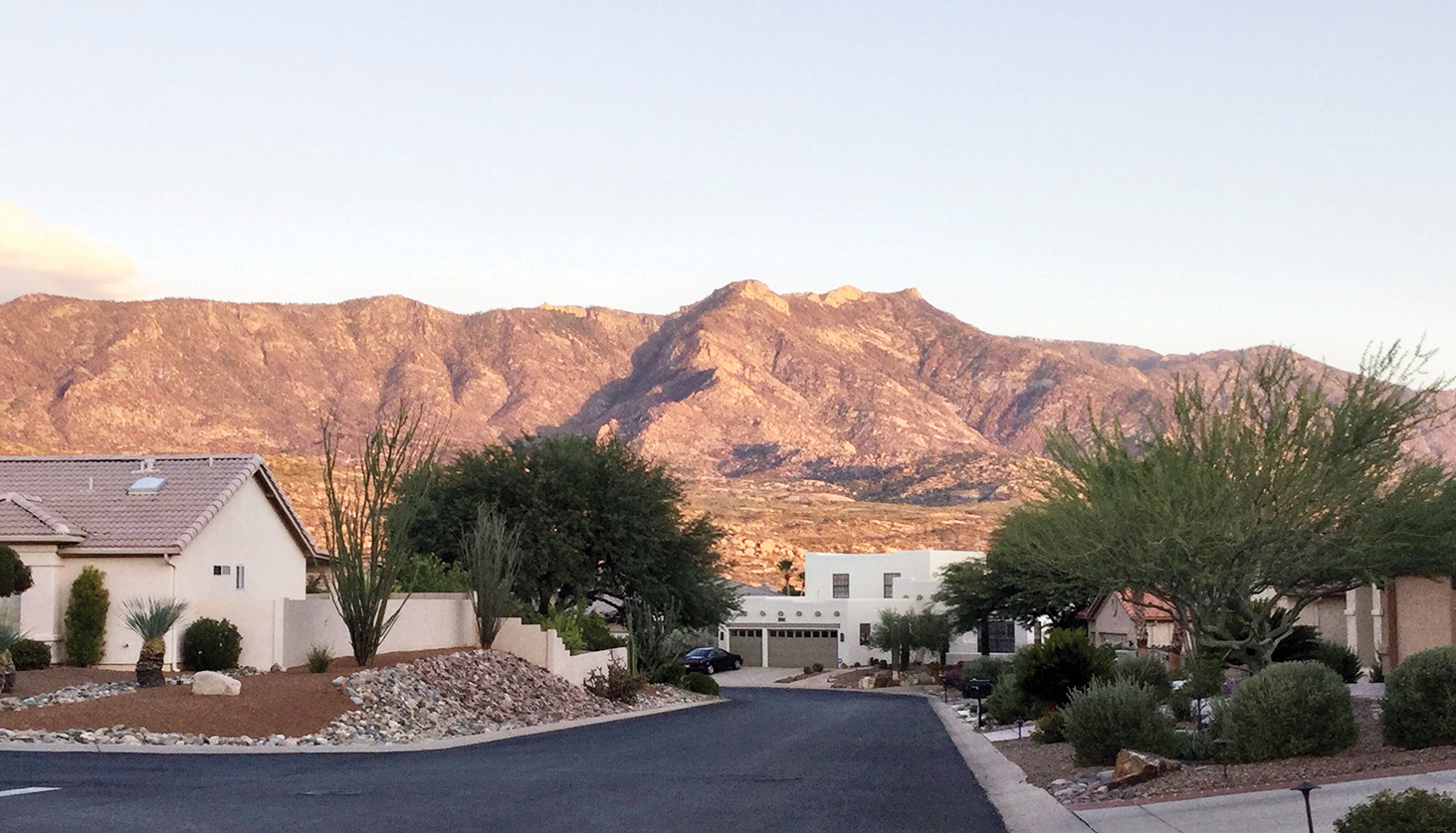 The beautiful Catalina Mountains have a golden glow near sunset.