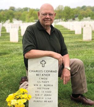 John Floyd at Charles Beckner's gravesite in Arlington National Cemetery