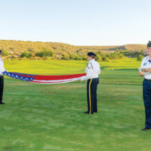 A beautiful morning eased in as Commander Wayne Larroque and members of the Oro Valley American Legion paid tribute to our military families prior to the Patriotic Golf Day event. (Photo by Bill George)