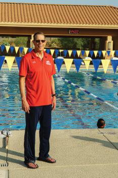 Head Coach Terry Heggy leading a swim practice for the SaddleBrooke Swim Club