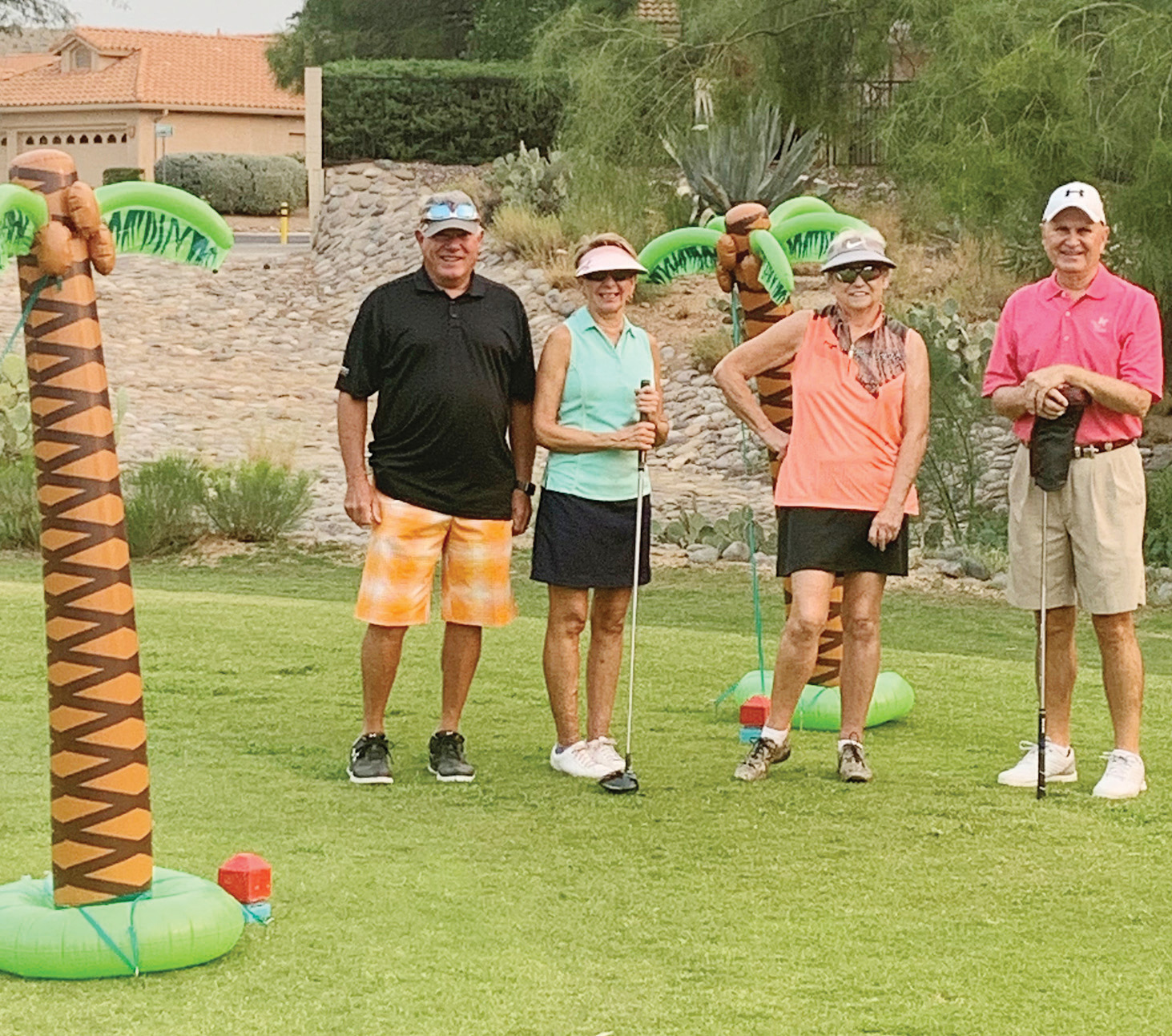 Jerry Keirn, Pam Bicknell, Sheila Clarkin, and Gary Stewart on 1st tee (Photo by Fred Pilster and Jane Chanik)