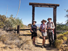 Hikers departing High Jinks Ranch: Elisabeth Wheeler and Mary and Ken Riemersma (Photo by Serena Dufault)