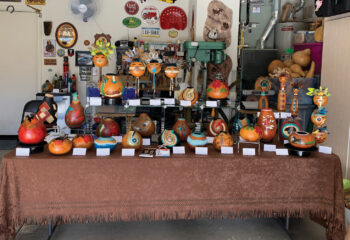 Sharon Miller's gourds and masks