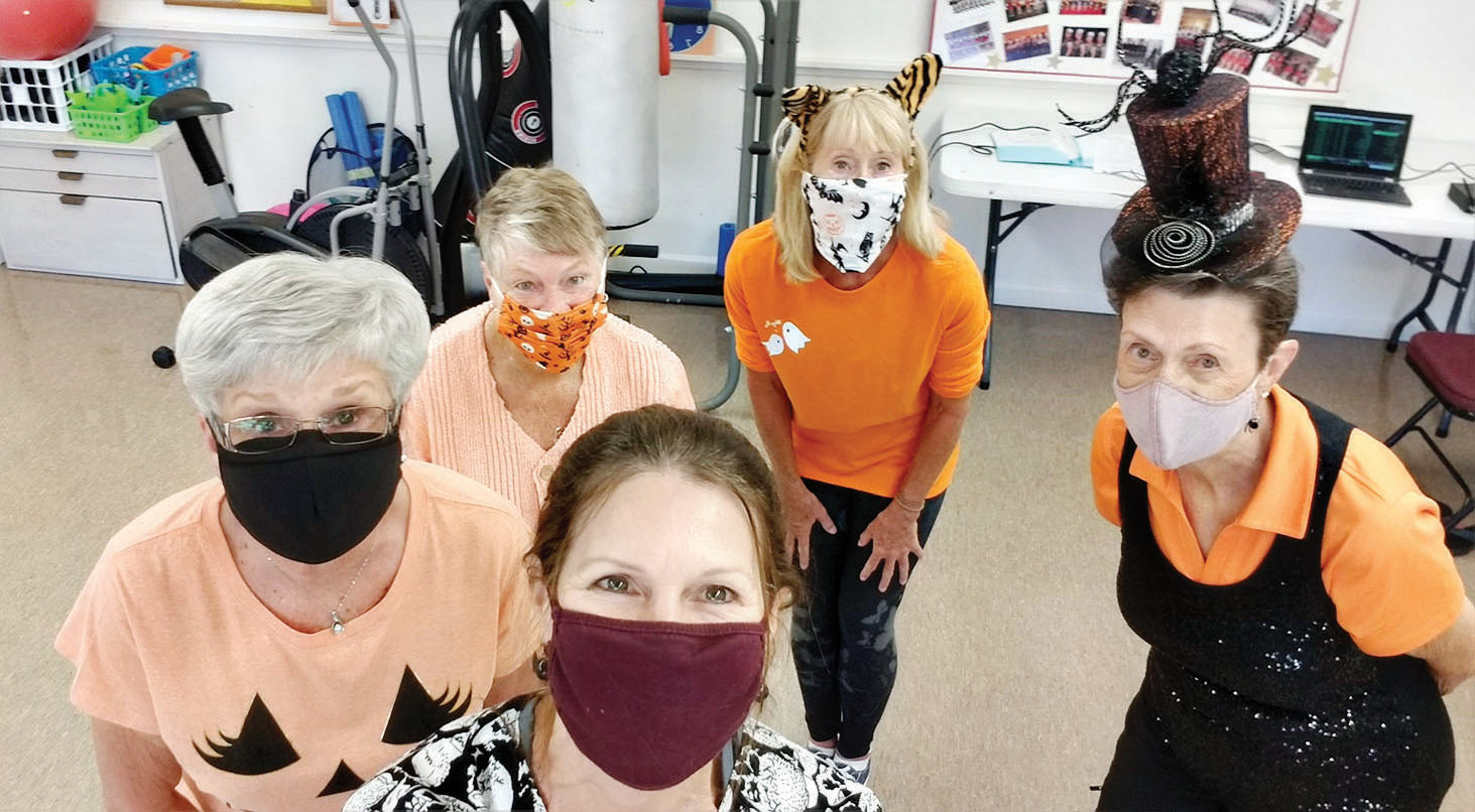 This core group is Ellen Buckley, Carol Jones, Melody Campbell, Kim Ahlgrim, and Stephanie Giskill. Missing in this Halloween picture is Carol Nicholson, who also clogged all summer with us. We hope to welcome back more dancers this fall.