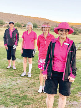 First group on the course (back to front): Joyce Sutay, Linda Miles, Pam Brown, and Raye Cobb