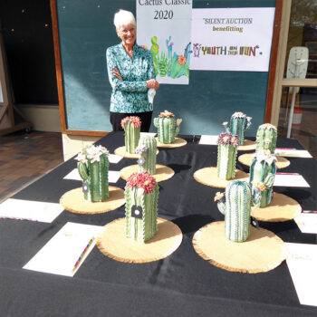 Christine Smith with her clay cacti creations