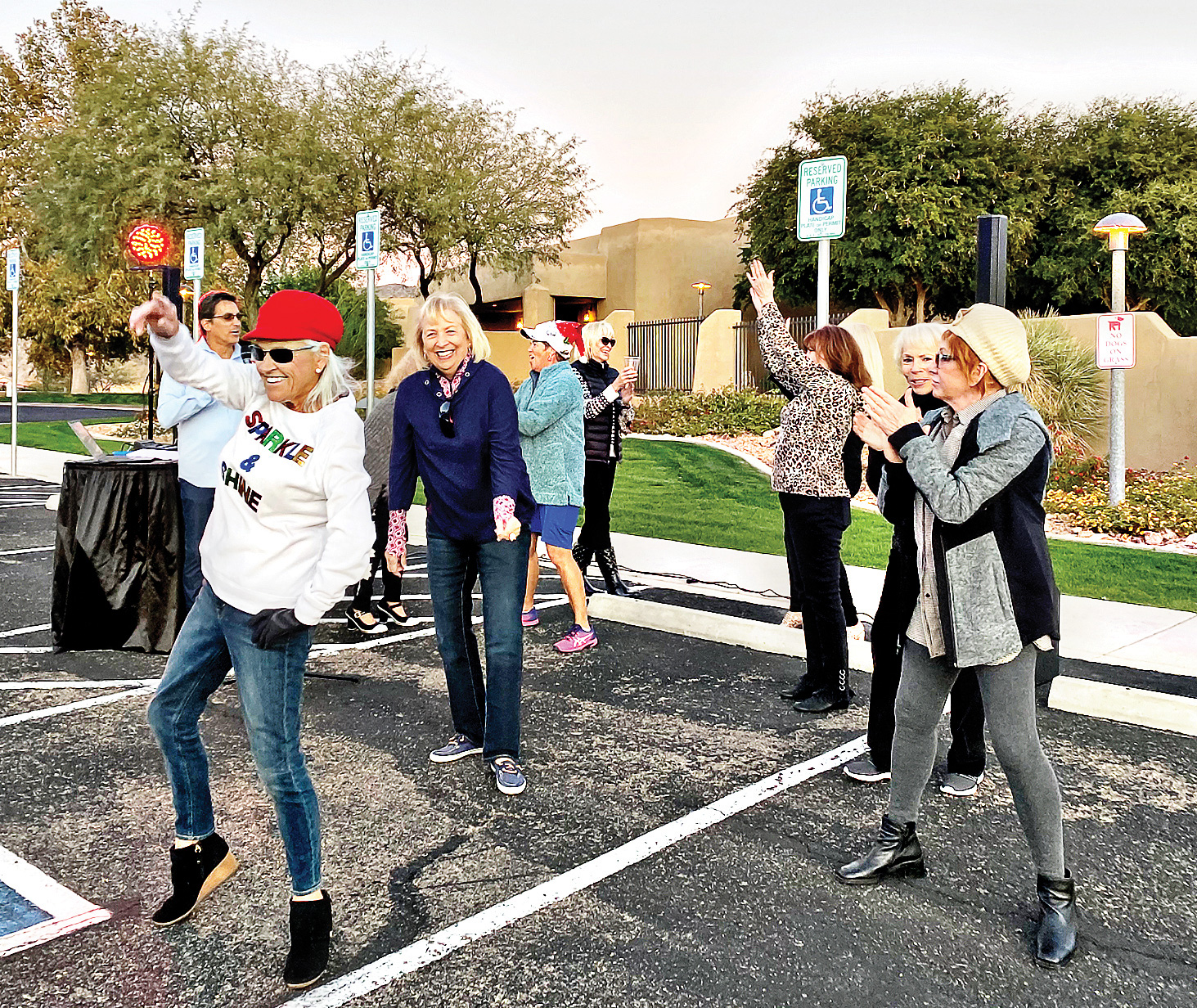 Loose women firing on all cylinders at the Preserve Parking Lot Recharging Station. (Photo by Edward Routzong)