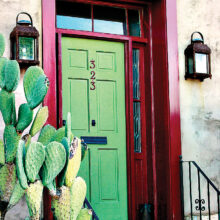 The original green door photo by Jim Morris from which the artists drew inspiration.