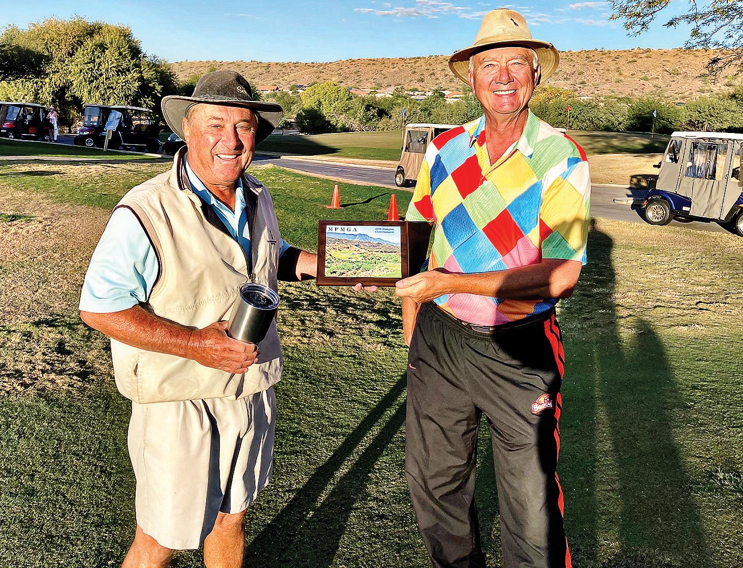 John Brubaker, 2020 MPMGA club champion (left) and Dan Nordhill, MPMGA president.