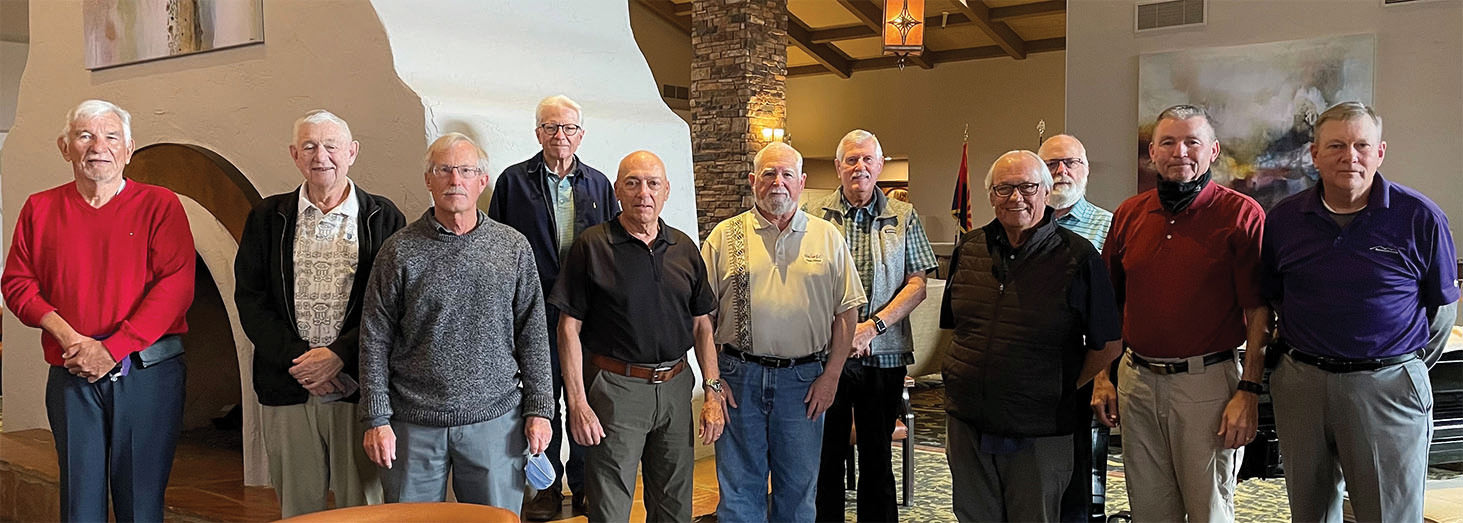 Left to right: Dick Cook, website chair; Gary Beeler, handicap/rules chair; Richard Spitzer, technical advisor; James Wetegrove, publicity chair; Dennis Holt, social chair; Jay Love, president; Gary Brunelle, secretary/treasurer; Dick Ashwood, membership chair; Calvin Saulsbury, tournament chair; Paul Belanger, assistant tournament chair; and Tom Dowell, vice president (Missing: Bob Auld, assistant handicap/rules)