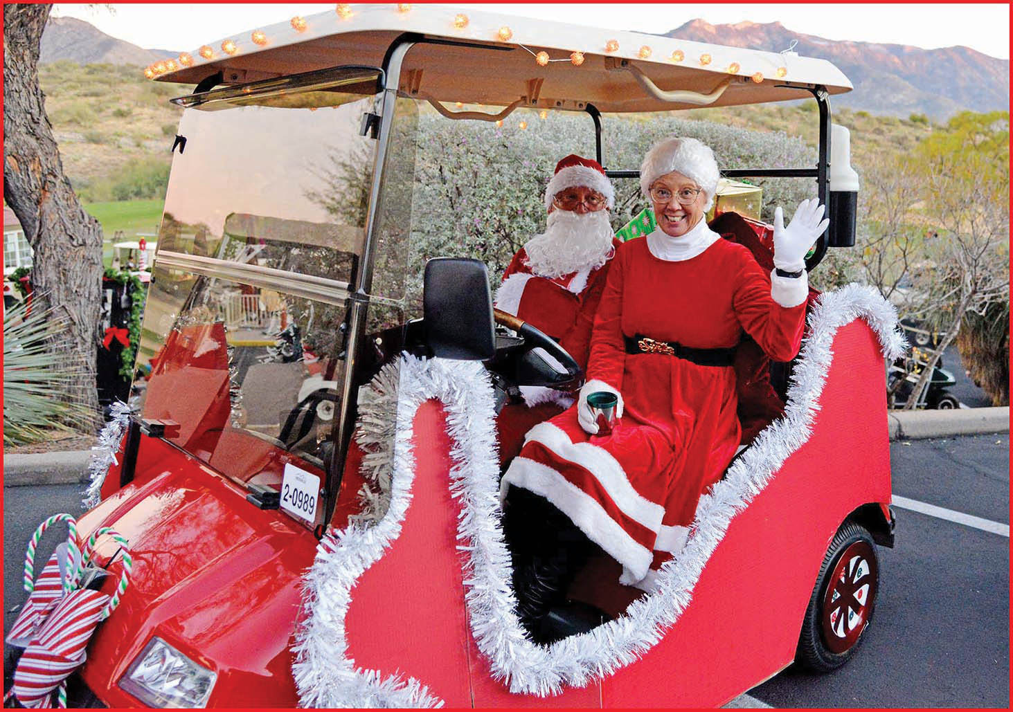 Best golf car winners Kathy and Steve Sanchez for their Mr. and Mrs. Santa Claus sled