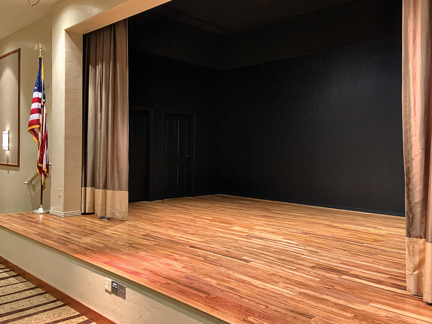 The newly painted MVCC stage will spotlight performers. (Photo by Shawne Cryderman)