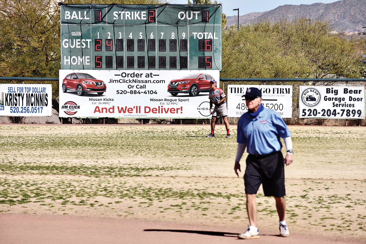 Base umpire Dennis Marchand is in position to make a call at a recent SaddleBrooke Senior Softball game.