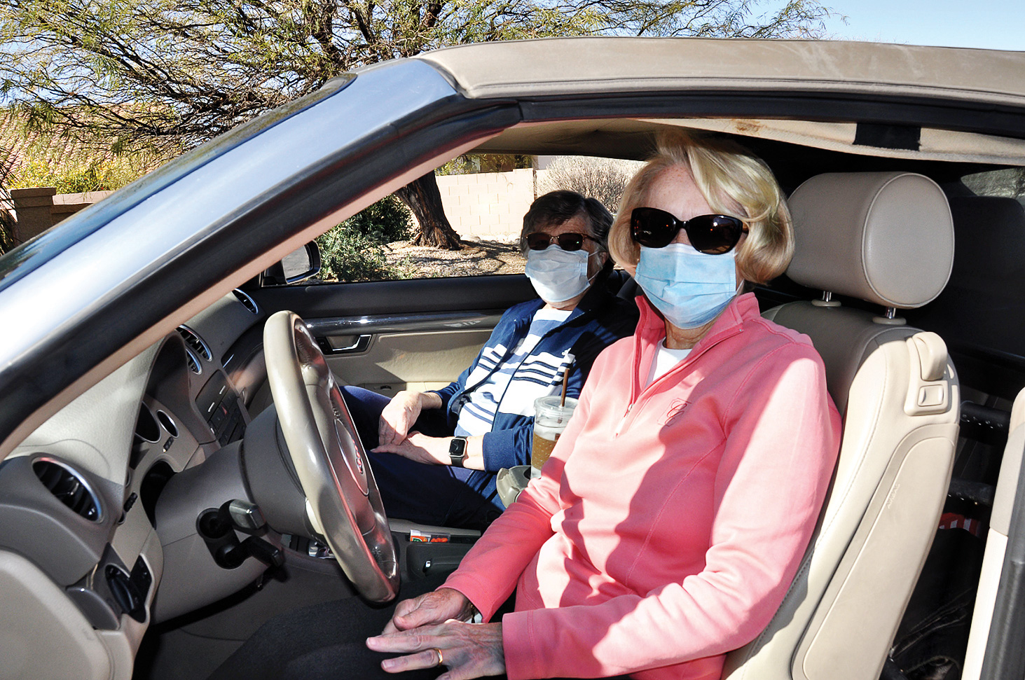 Village member Barbara Smith heads to town with volunteer driver Linda Russell.