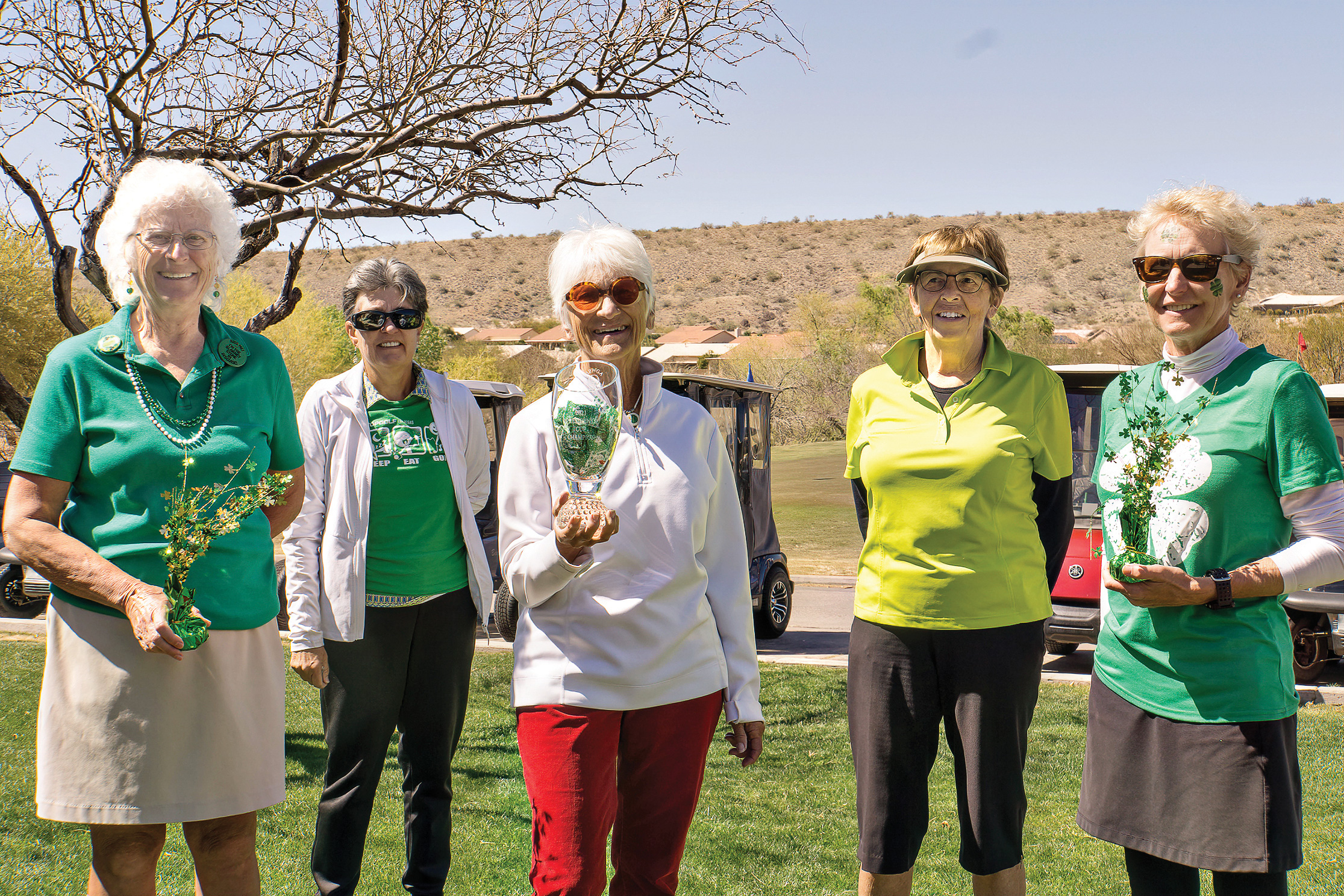 Janey Clausen, 12th president; Ann Martin, 11th president; 2021 Presidents Cup Champion Midge Mollenkopf; Connie Sherman, 3rd president; and Debbie McMullin, 13th and current president (Photo by Andrea Gray)