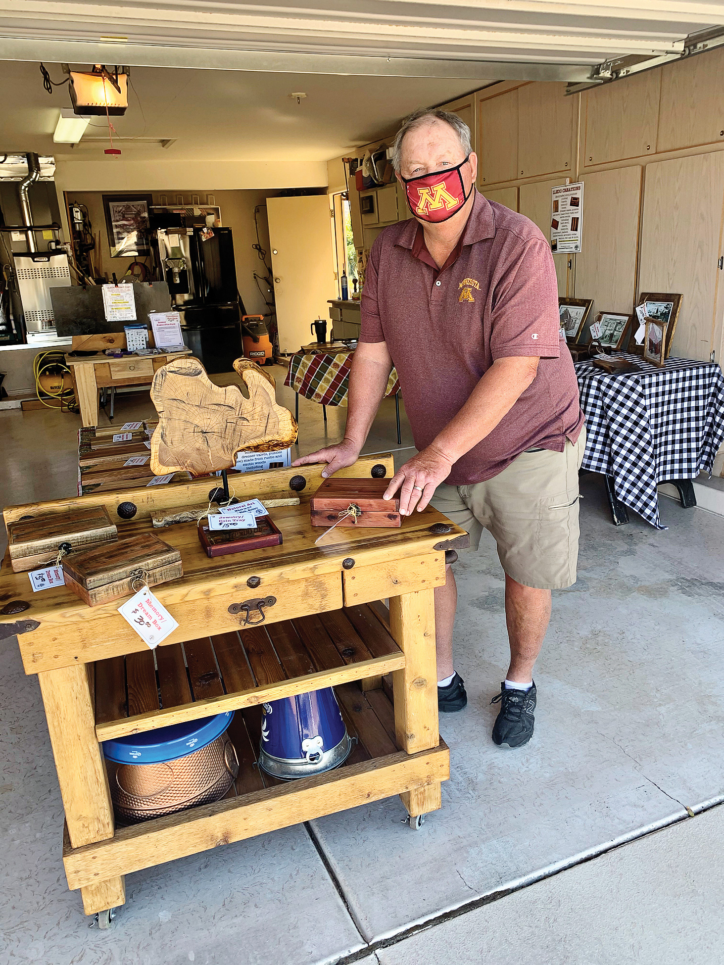Mike O'Dell with his display of wooden creations.